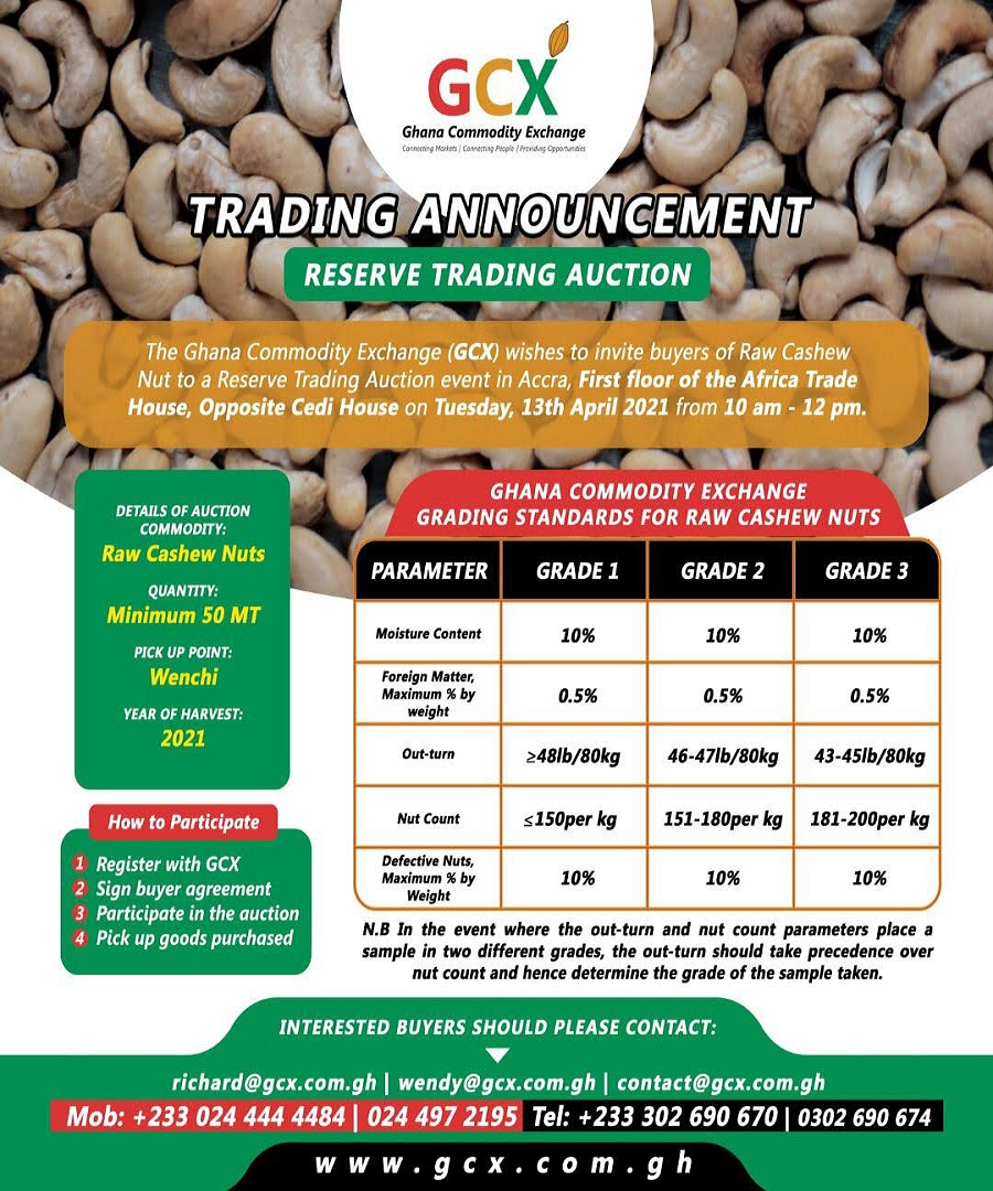 RAW CASHEW NUT RESERVE TRADING AUCTION image