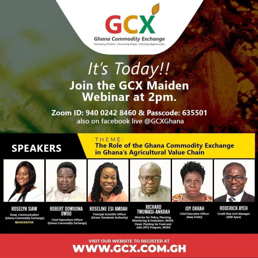 GCX ORGANISES ITS MAIDEN WEBINAR UNDER THE THEME THE ROLE OF GHANA COMMODITY EXCHANGE IN GHANA'S AGRICULTURAL ECOSYSTEM image